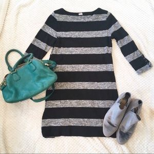 J. Factory Black and Gray Stripped Dress
